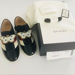 Gucci Falacer Butterfly Black patent Sneaker 36 6